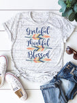 Grateful Thankful Blessed Leaves Printed T-Shirt