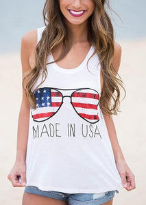 Letter Printed Made In USA American Flag Sunglasses  U-neck Tank Tops