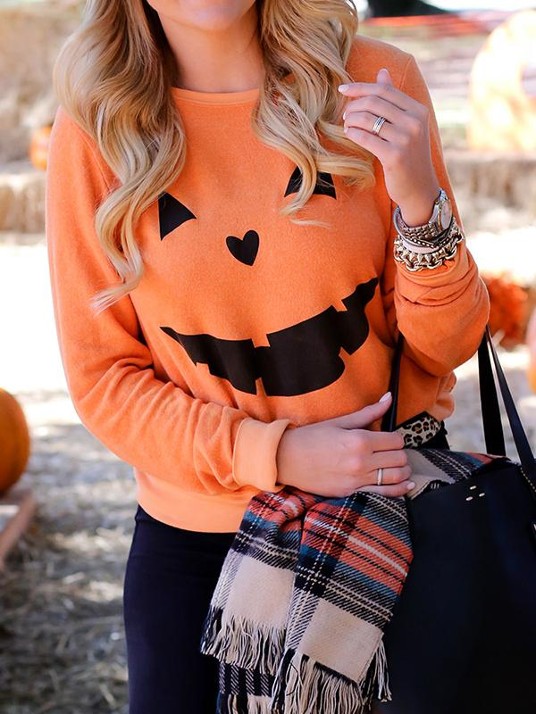 Halloween Pumpkin Printed Casual Sweatshirt