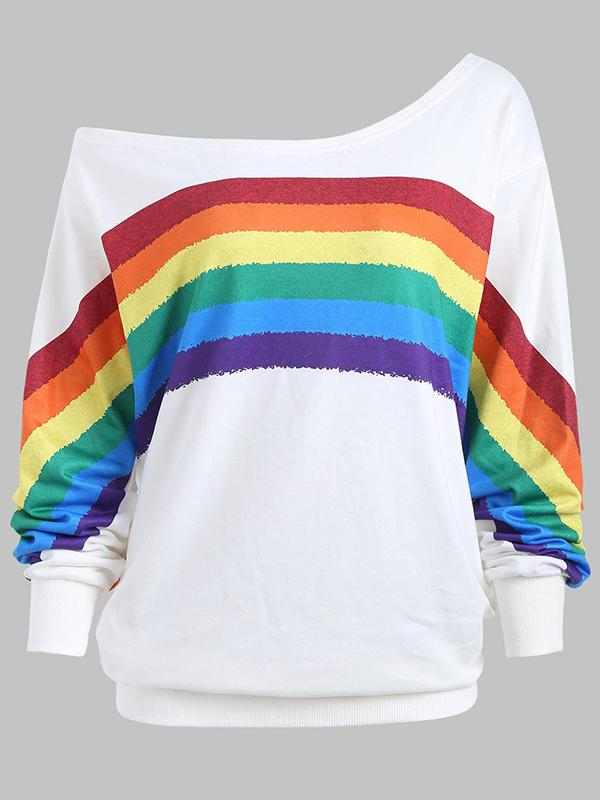 Rainbow Print One Shoulder Sweater