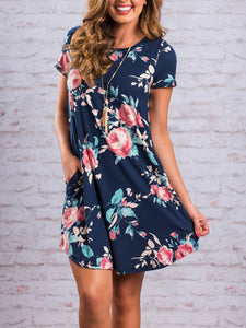Floral O-Neck Pocket Bohemian Dress