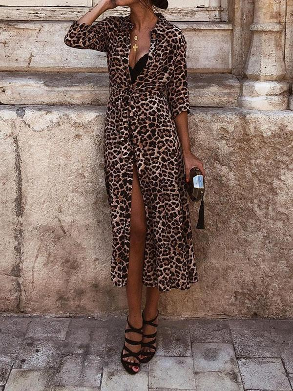 Leopard Printed Long Sleeve Maxi Dresses