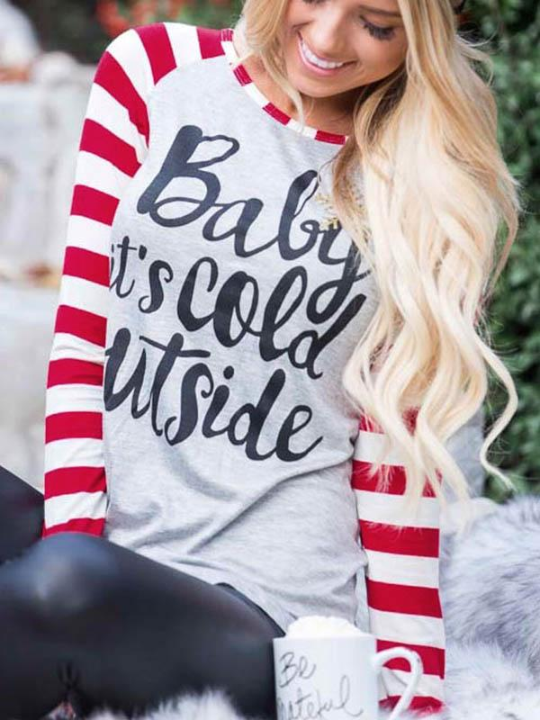Christmas Baby It's Cold Outside Striped Baseball T-Shirt