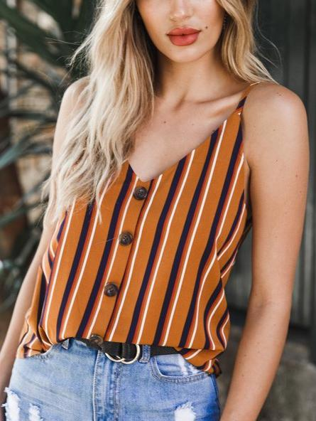 Stripe V-neck Backless Tank