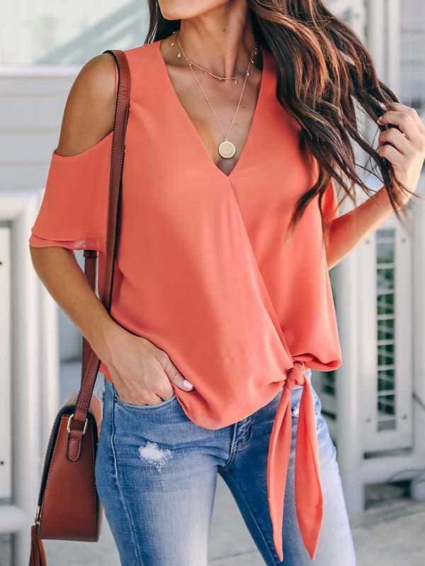 Reminisce Cold Shoulder Tie Front Top