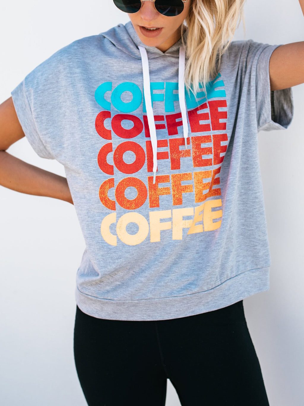 Coffee Letter Printed Hooded T-shirt