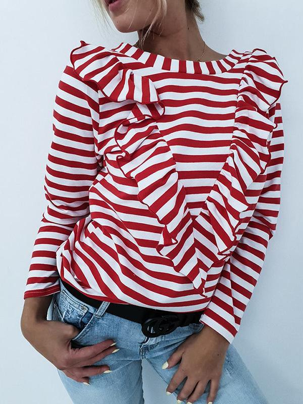 Striped Ruffled Long Sleeve Blouse