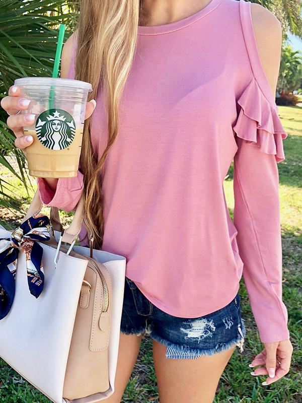 Solid Off Shoulder Ruffle T-shirts