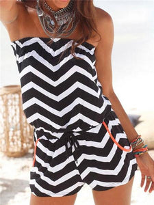 Off-shoulder Striped Jumpsuit-Jumpsuits-Fechicin.com