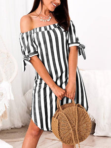 Off Shoulder Striped Pleated Mini Dress-Mini Dress-Fechicin.com