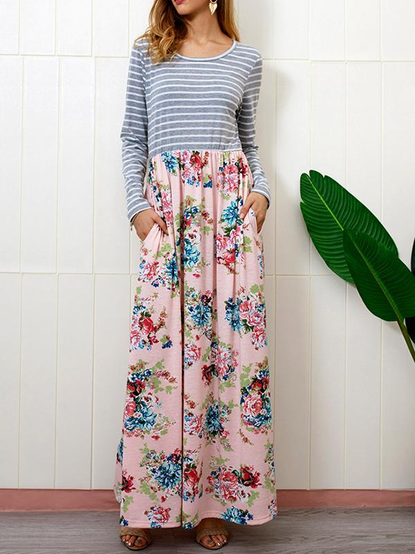 Striped Floral Pockest Maxi Dress-Maxi Dress-Fechicin.com