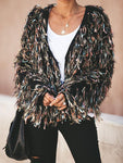 Brilliance Metallic Fringe Statement Cardigan