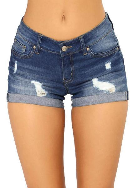Hole Ripped Denim Shorts
