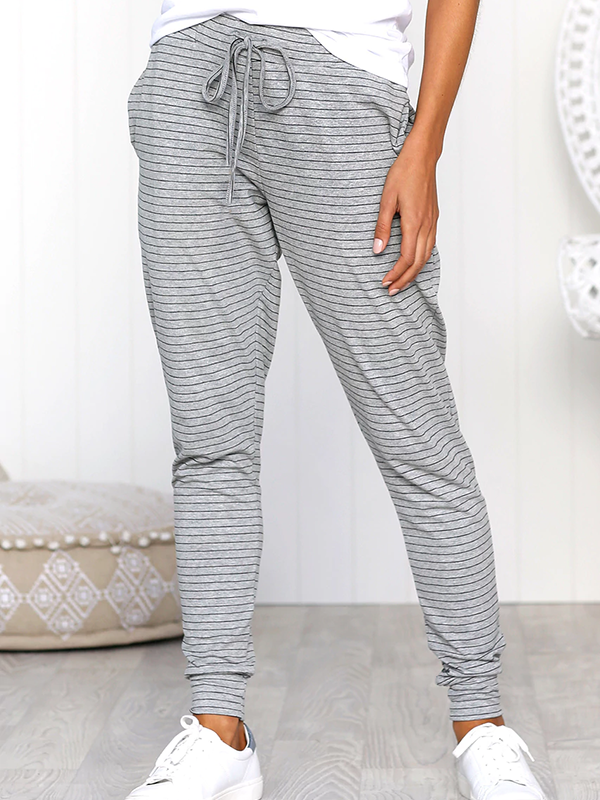 Striped Tie Loose Trousers-Bottoms-Fechicin.com