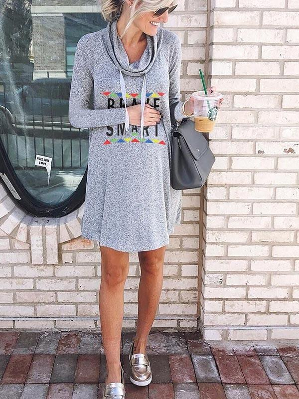 Brave Smart Letter Hoodie Dress