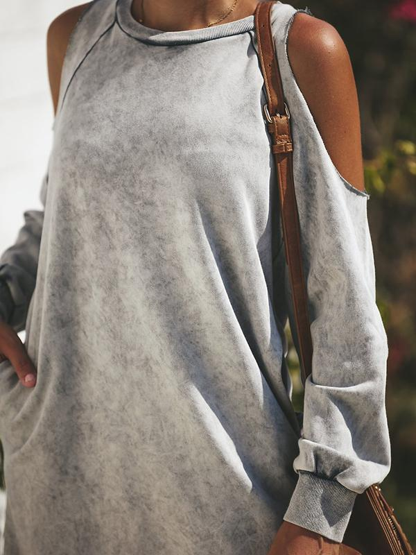 Solid Off-Shoulder Dress with Pocket