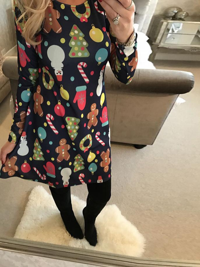 Multi-Colour Tree Christmas Swing Dress