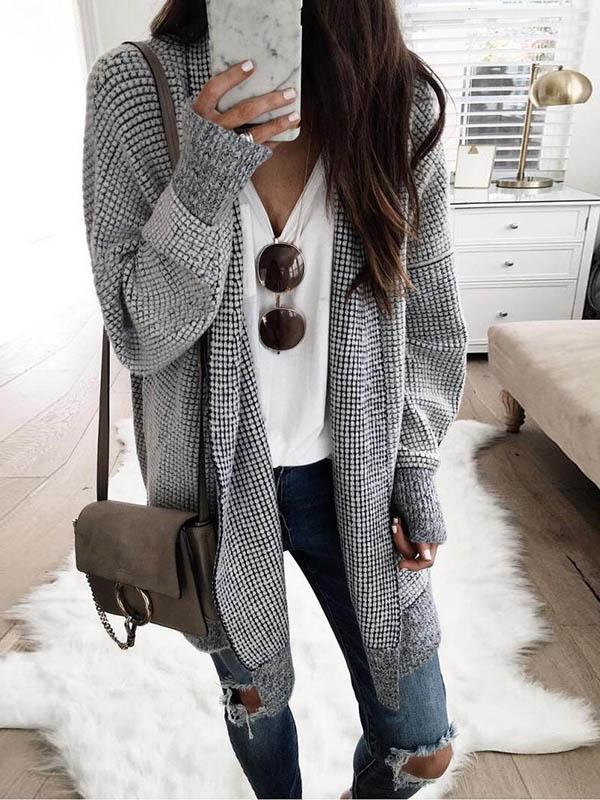 Gray Grid cardigan Casual Long Sleeves Coat
