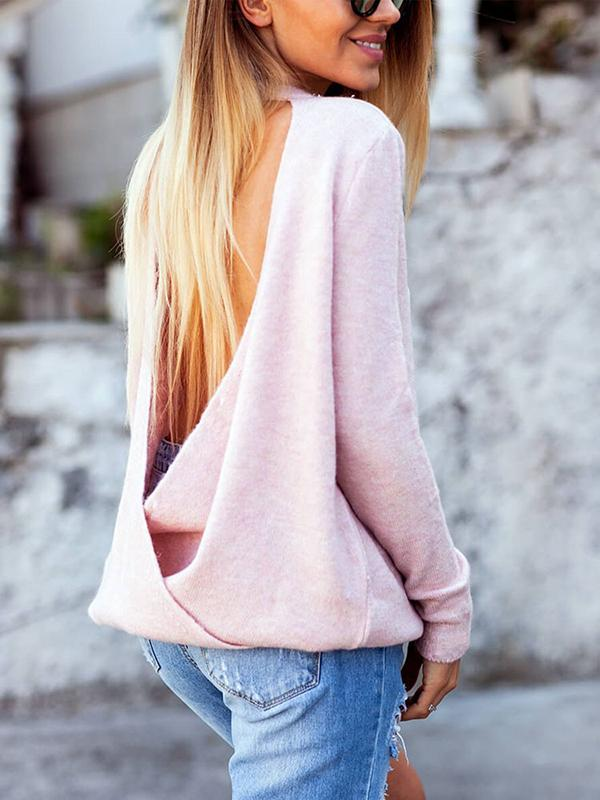 Solid Backless Long Sleeve Sexy Sweater-Hoodies & Sweatshirts-Fechicin.com