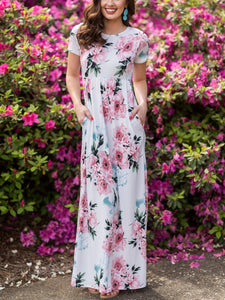O-Neck Floral Printed Long Dress