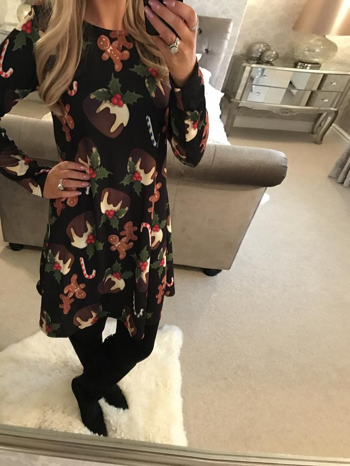 Dessert Printed Christmas Swing Dress