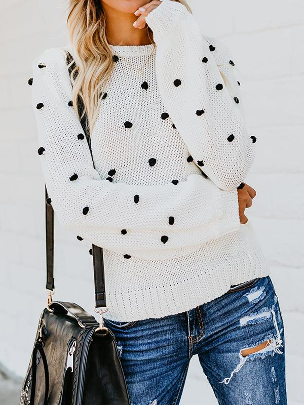Pom-Pom Trim Polka Dots Pullover Sweater