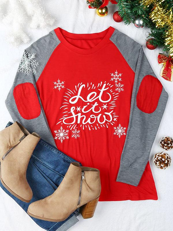 Christmas Let It Snow Elbow Patch Baseball T-Shirt