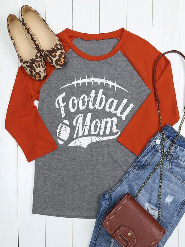 Football Mom Letter Splice T-shirts
