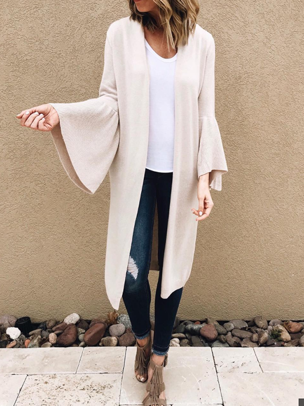 Solid Color Bell Sleeve Cardigan