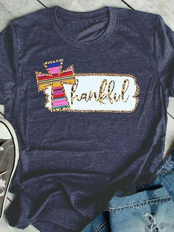 Thankful Leopard Printed O-Neck T-Shirt