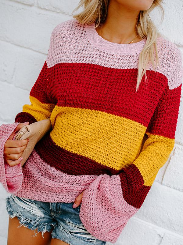 Striped Multicolor Bell Sleeve Knit Sweater