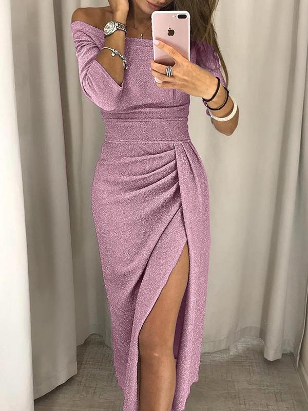 Off Shoulder Ruched Thigh Slit Dress