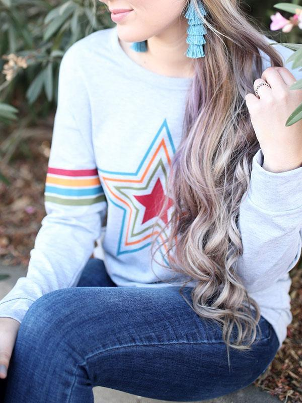 Star Rainbow Printed Blouse