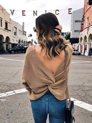 V-Neck Back Irregular Cross Knot Knit Sweater