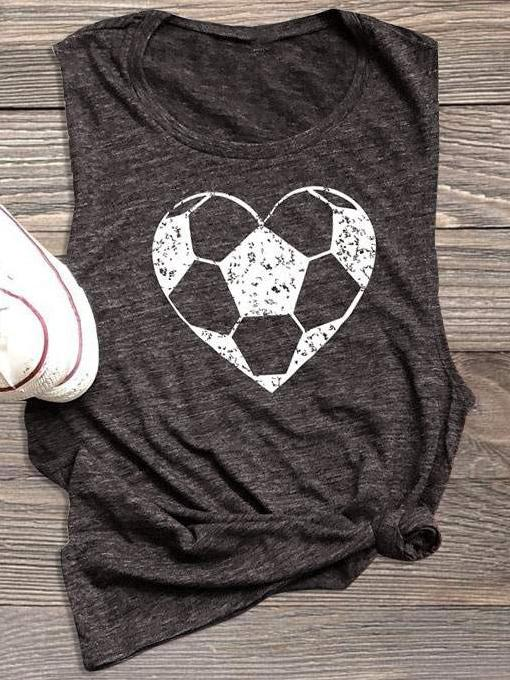 Heart Football Printed Tanks
