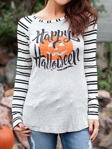 Happy Halloween Pumpkin Face Baseball T-Shirt