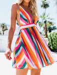 Deep V Ranibow Striped Backless Mini Dress