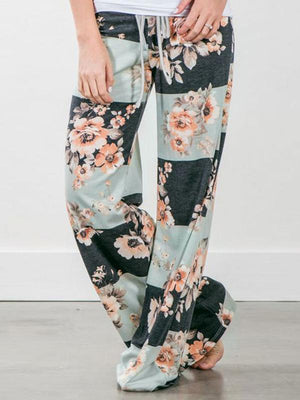Floral Drawstring High Waist Wide Leg Pants