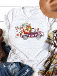 Fall Pumpkin Truck V-Neck T-Shirt
