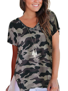 V-neck Printed Casual T-shirt