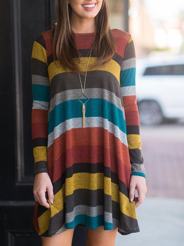 Multicolor Striped Loose Dress