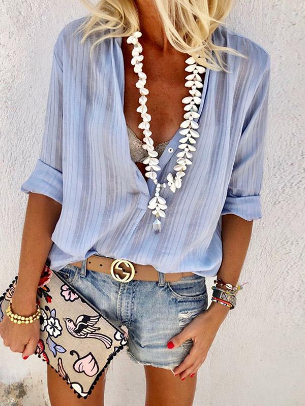 Solid Color V-neck Blouse