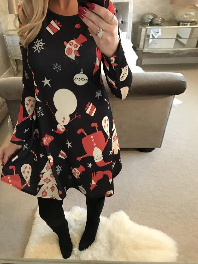 Snowman Printed Christmas Swing Dress