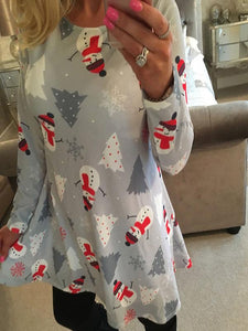 Christmas Snowman Printed Dress