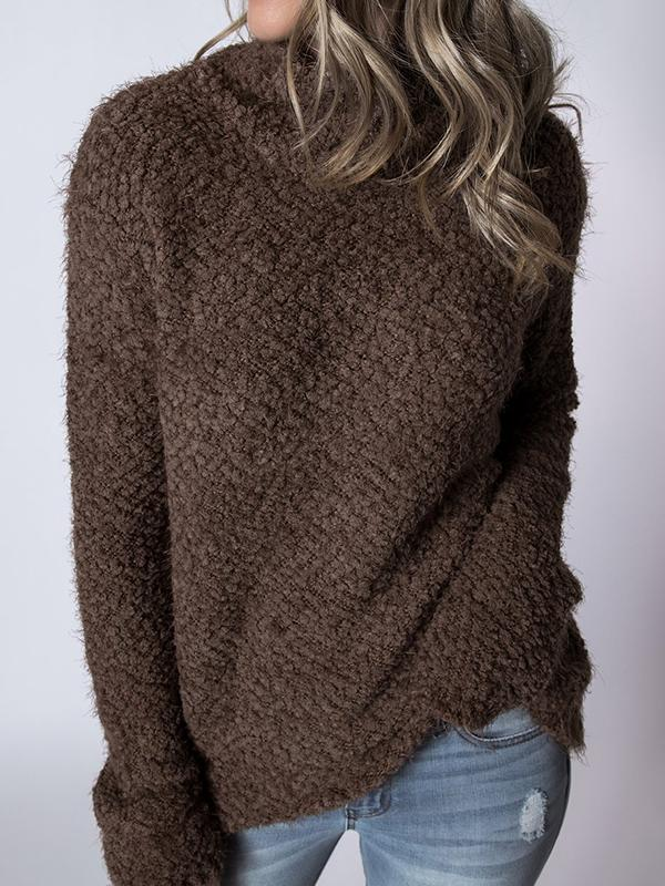 Solid Color Plush Long Sleeve Sweater