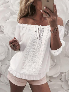 Solid Color Off Shoulder Lace Blouse
