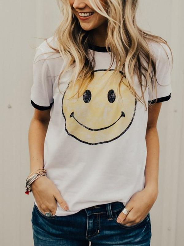 Smile Splicing Short Sleeve T-Shirt
