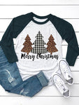 Merry Christmas Plaid Leopard Printed Tree Baseball T-Shirt