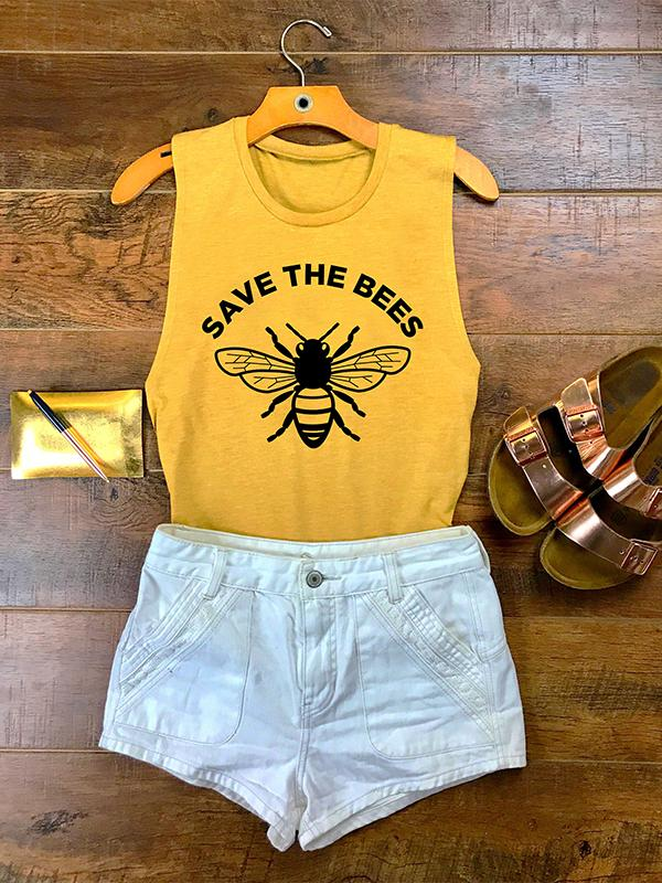 Save The Bees Printed O-neck Tank