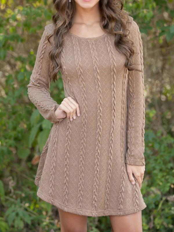 Solid Long Sleeve Knitted Mini Dress